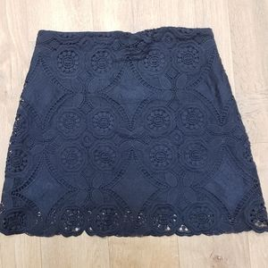 Abercrombie and Fitch Navy Blue Lace Mini Skirt